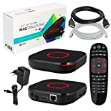 MAG 324w2 original Infomir & HB-DIGITAL IPTV Set TOP Box Multimedia Player Internet TV IP Receiver (HEVC H.256 Support) mit WLAN WiFi integriert 150Mbps (802.11 b/g/n) + HDMI Kabel + LAN Kabel