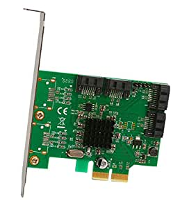 Syba SI-PEX40057 SATA III 4 Port PCI-e 2.0x 2 Card with Marvell HyperDuo RAID Mode Support and Low Profile Brackets,Green