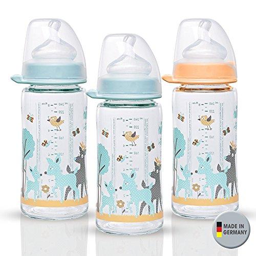 Gr Milch //// NIP Flaschen- und Saugerb/ürste 2 in 1 0+ Silikon NIP Weithalsglasflasche Glas Flaschen Set Uni //// 8er Set //// Glas-Babyflasche //// 240 ml //// mit Weithalstrinksauger anatomisch