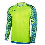 Kelme - Maglia da allenamento professionale per portiere di calcio, con maniche, adatta per l'estate, Uomo, Yellow/Blue, L
