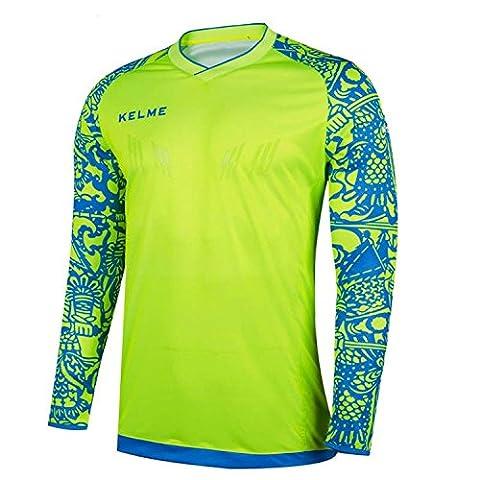 kelme football gardien 2017 - 2018 été formation professionnelle t - shirt manches (Yellow/Blue, M)