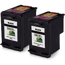 JARBO Remanufacturado HP 300 XL Cartuchos de tinta (2 Negro) Compatiable con HP Deskjet 2410 2418 2423 2430 D1600 D1650 D1658 D1660 D1663 F2400 F2420 F2480,HP Envy 110 114 120 100,HP Photosmart 4690 4750 C4600 D110a
