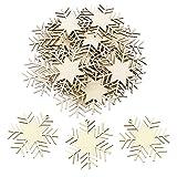 Anladia 25 St. 10cm Weihnachtsanhänger Tannenschmuck Christbaumschmuck DEKO Holz Schneeflocke Weihnachtsbaum Weihnachten zum selbst bemalen