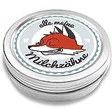 Milchzahndose | Fuchs Fritz | für Mädchen und Jungen | Geschenk zur Einschulung, Taufe, Geburt | Zahnfee Dose aus Metall für Wackelzahn (Blau)