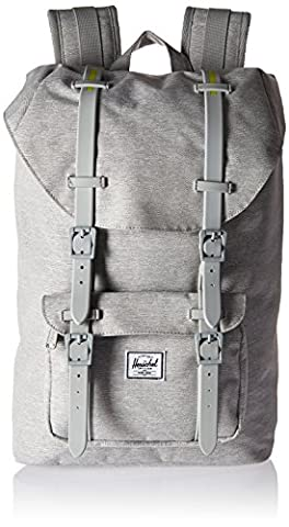 Herschel Supply Co. Sac à dos Little America moyenne Pop Quiz moyenne, Light Grey Crosshatch/Light Grey Rubber/Acid Lime Insert (gris) -