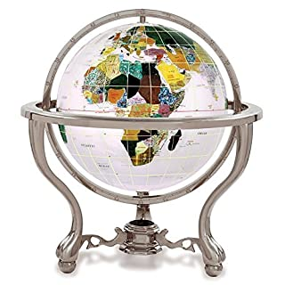 KALIFANO 4 Gemstone Globe w/ Opal Opalite Ocean and Antique Silver Commander 3-Leg Table Stand by Alexander Kalifano