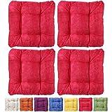 4er Set Sitzkissen Stuhlkissen - sehr bequem - besonders komfortabel - marmoriert - 40x40x8cm - rot