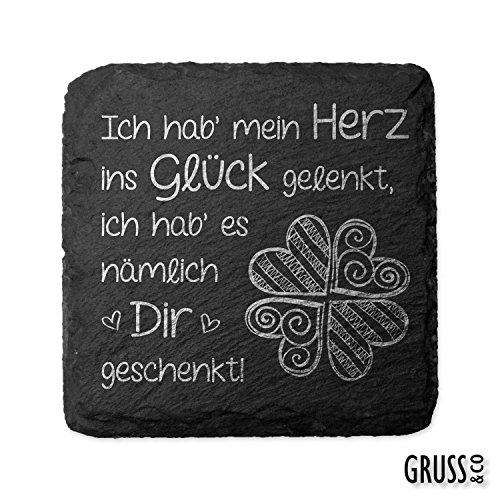 Sheepworld, Gruss & Co - 44458 - Untersetzer, Ich hab´ mein Herz ins Glück gelenkt, ich hab´ es nämlich Dir geschenkt!, Schiefer, 9,5cm x 9,5cm