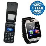 Drumstone Corn Flipone Mobile Phone with Dual Sim and Camera with Dz09 Smartwatch