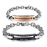JewelryWe Schmuck Edelstahl Paare Armbänder, Kette Armband mit Gravur Armkette Partnerarmband Armreif für Damen Herren, Schwarz Gold Silber - mit Geschenk Tüte