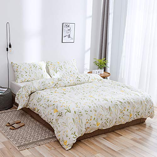 Modow Fresh Pastoral Style Bettwäsche 100% Reiner Ägyptischer Baumwolle Set, Heimtextilien Bettbezug Set 3 Stück Mit Kissenbezügen,AUSingle -