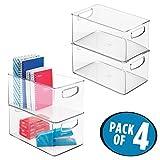 mDesign Set da 4 Contenitori in plastica per la scrivania – Scatole scrivania in plastica robusta – Scatole per ufficio portatili per quaderni, blocchi, matite, e molto altro - trasparente
