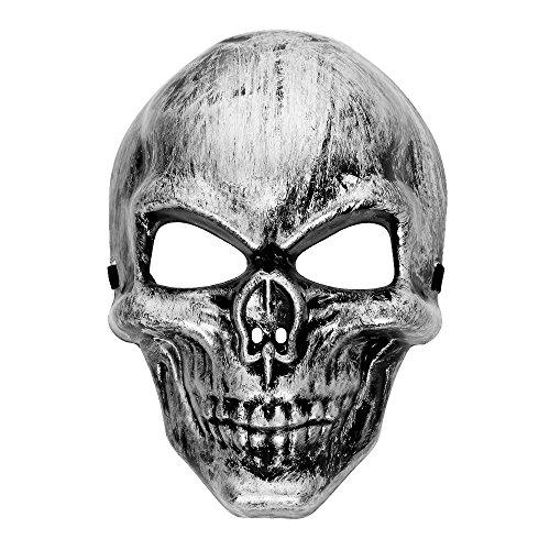(Totenkopf Halloween Maske Skull design 3 silver)