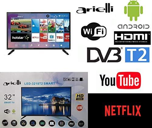 Smart TV 32 Pollici Arielli LED-3218T2 Display 32' Led - 1366x768 HD Ready - Android Con Netflix Youtube - DVB T2/C - Wifi integrato - Scart, 3xHDMI, 2xUSB - Vesa - Garanzia Italia