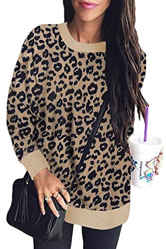 Sudadera de Manga Larga para Mujer Sudadera con Cuello Redondo y Estampado de Leopardo Sudadera cálida Invierno-KK-2XL