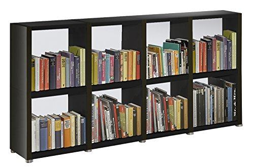 Bücherregal Raumteiler READY 24R in Schwarz mit Rückwand in Alpineweiß