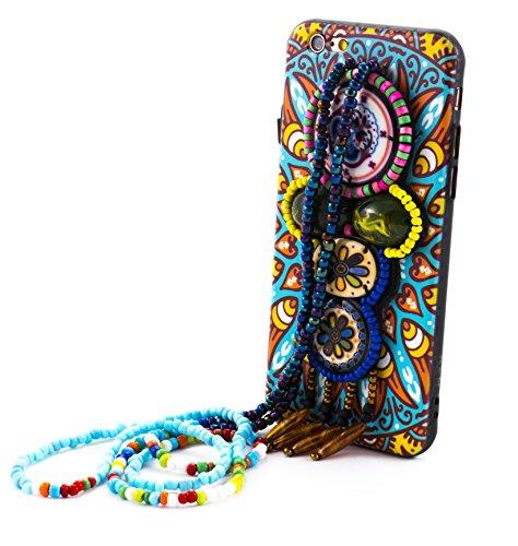 Bubblegum Fällen Tribal Anhänger Artistic Hard zurück iPhone umfasst mit Tragebeutel, Jeweled Bunte Halskette Perlen, türkis, iPhone 7/ iPhone 8