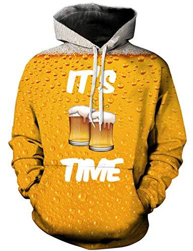 Loveternal Unisex Kapuzenpullover Herren 3D Print Bier Hoodie Pullover Langarmshirts Leichte Sweatshirts mit Taschen L/XL -
