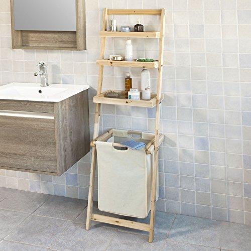 Sobuy mensola scala,portabiancheria salvaspazio,organizzare la bagno,impermeabile,cedro, frg160-n,it