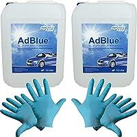 Hoyer AdBlue® 2 recipientes de 10 L, incluye vertedor + 2 pares de guantes de nitrilo desechables