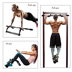 Door Gym, HiHill Doorway Pull Up Bar 8 Grips Exercise Bar Portable Tough Steel Construction Chin Up Bar 250lb Train Upper Body and Core Work Out at Home(IRG-01)