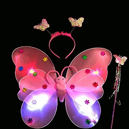 Upxiang 3 Stück Baby Mädchen LED Schmetterling Stirnband / LED Schmetterling Magic Wand / Schmetterling Flügel / reizend Partei-Kostüm-Prinzessin-Mädchen-Kind-Schmetterlings-Flügel-Stab-Stirnband-Feenhaftes Weihnachtskostüm, passt Kindergarten, Geburtstag, Hallowmas Party Kostüm (Rosa) (Taucher Kostüm Halloween)
