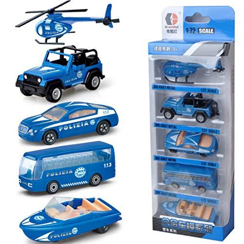 Likeluk Kunststoff Spielzeugauto, 5 Polizeifahrzeug in Einem Set LKW Spielzeug für Kinder ab 36 Monate - Auto, Bus, Hubschrauber, LKW, Yacht