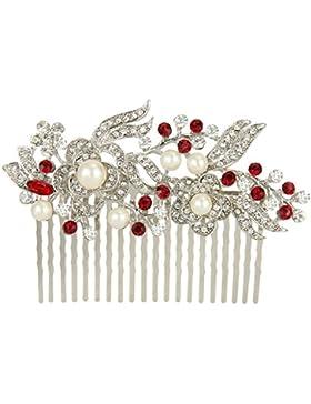 Ever Faith österreichischen Kristall Künstliche Perle Blume Braut Haarkamm Haarschmuck - rot-20-Zähne-Silber-Ton
