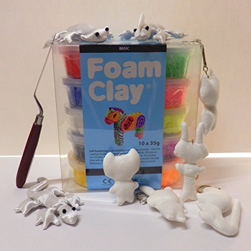 Foam Clay® Modelliermasse mit feinen Perlen/Kügelchen - Bastelset - Tiere