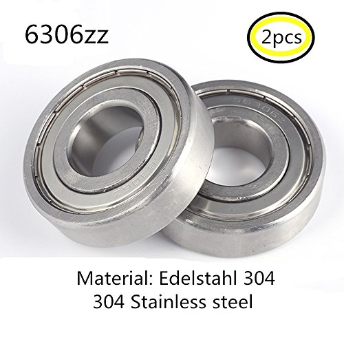 Preisvergleich Produktbild 6306Z S6306 6306ZZ lager 304 Edelstahl Rillenlager Miniaturlagern Motoren 30x72x19mm ball bearing for motor 2-Pcs