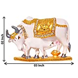 Art N Hub Handcrafted Decorative Kamadhenu Cow & Calf Brass Statue Divine Showpiece/ 24 K Gold Plated Spiritual Vastu Nandi Pooja Figurine Sculpture/ Designer Stone Studded Gau Mata Animal Puja Idol