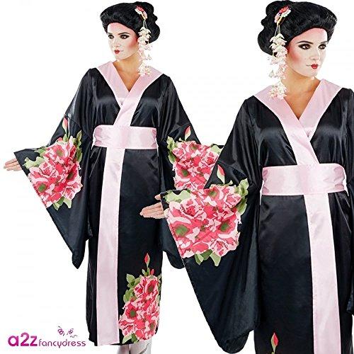 Japanese Geisha, Kimono & Belt, Adult Ladies Fancy Dress Costume L (UK: 16-18)
