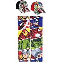 Pack: Toalla (70x140) Más 2 Gorras Ajustables. Diseño Avengers - LOS Vengadores