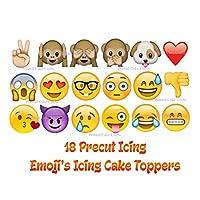 18 Precut Emoji Printed Icing Cake Decorations Edible Cake Toppers Fab for Emoji Cakes