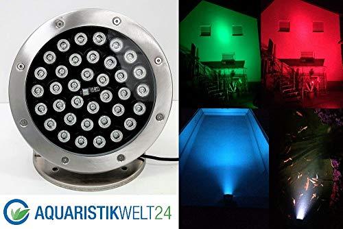Aquaristikwelt24 36W LED RGB 12V Teich Pool Unterwasser u.Garten Beleuchtung Lampe aus Edelstahl