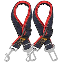 COMSUN Dog Seat Belt, 2 Pack Adjustable Pet Car Seatbelt, Dog Harness Safety Leads, Cat Vehicle Traveling Leash, 17-26 Inch Adjustable Length (Red)
