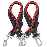 COMSUN Dog Seat Belt, 2 Pack Adjustable Pet Car Seatbelt, Dog Harness Safety Leads, Cat Vehicle Traveling Leash, 17-26 Inch Adjustable Length (Red)