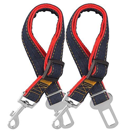 COMSUN Hunde Sicherheitsgurt, 2er-Set Auto Hundegurt Sicherheitsgeschirr Autogurt-Adapter für alle Größe Hunde-Geschirr oder Halsband Haustier Sicherheitsleine 17-26 Zoll Verstellbar