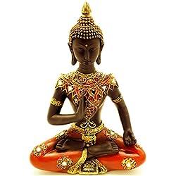 Figura decorativa de Buda sentado meditando estatua grande 31cm), color rojo y dorado