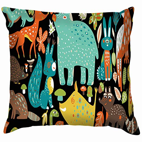 beautiful& Wild Forest Animals Hand Drawn Wildlife Handdrawn Nature Cotton Throw Pillow Case Cushion Cover Home Office Decorative, Square 18X18 Inch (Bugs Halloween Bunny Happy)