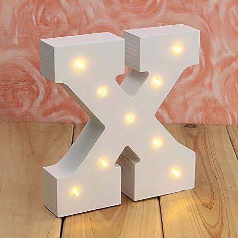 Light Up Buchstaben, hostweigh Holz Alphabet A-Z Geschenk Box Name Hochzeit Baby stehend oder Wand montiert Dekoration, Warm Whtie, x