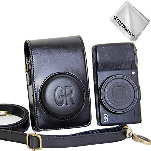 First2savvv schwarz Premium Qualität Ganzkörper- präzise Passform PU-Leder Kameratasche Fall Tasche Cover für Ricoh GR II GR - XJD-GRII-01G11