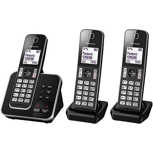 Panasonic KX-TGD323EB Cordless Home Phone with Nuisance Call Blocker and Digital Answering Machine – Pack of 3
