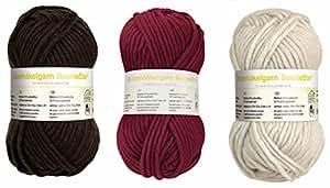 150 Gramm de tissu-mix lot de 3 bobines de fil à tricoter bonnet tricoté mützenwolle boshi crochet anthracite barrique ivoire