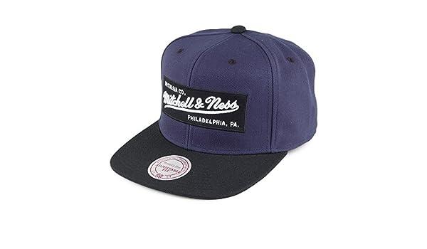 bafc686b040 Mitchell   Ness Men Caps Snapback Cap Box Logo Blue Adjustable   Amazon.co.uk  Clothing
