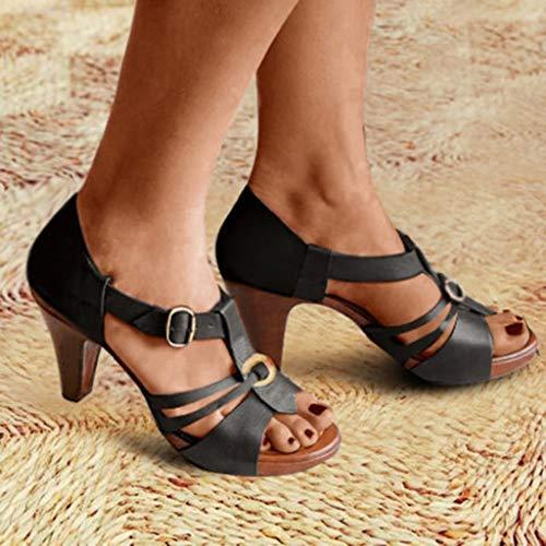 Junjie Rom Frau Sommer Stiletto High Heels Elegan Schuhe Knöchel Schnalle römischen Sandalen Stiefel lässig Reißverschluss Open Toe Sandalen Schwarz, Braun, Grau, Grün, Rot 5 Stiletto Heels
