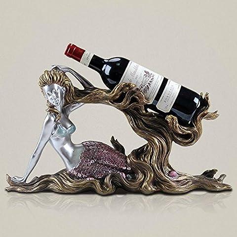 WENGKHF Bouteille de vin de sirène supports créatifs résine européen décoration fashion set craft liqueur armoire casier à vin , Log