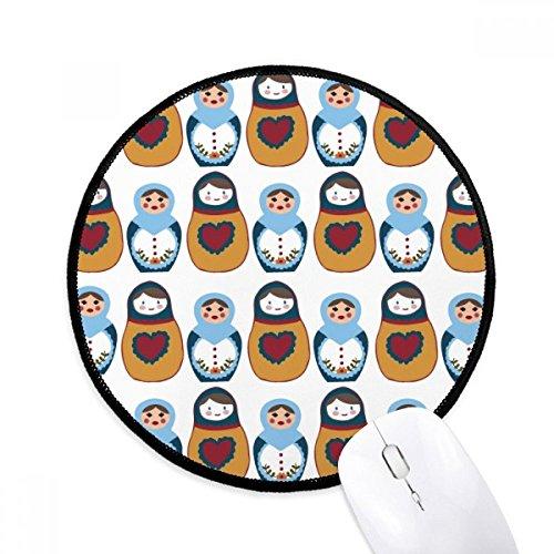 DIYthinker Russland Puppen-Plakat Matroschka Kultur Land Runde Griffige Mousepads Schwarz Titched Kanten Spiel Büro-Geschenk (Kultur-puppen)