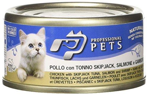 cibo umido per gatti pollo,tonno,salmone e gamberetti 24 scatolette da 70 g
