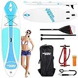 Miweba Sports Stand Up Paddle Board SUP Ariki - Drop-Stich-Technologie - 3 Finnen - Rocker Profil - Anti-Rutsch-Standfläche (Cool Blue, 10'8